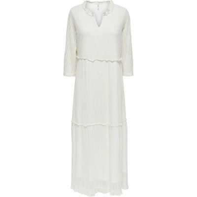 ONLY Langärmeliges Maxikleid White