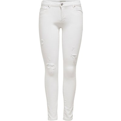 ONLY Onlcarmen Reg Ankle Destroyed Skinny Fit Jeans White