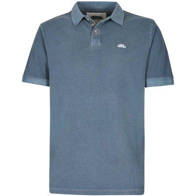 Weird Fish Edwin Garment Dyed Polo Shirt Moonlight Blue