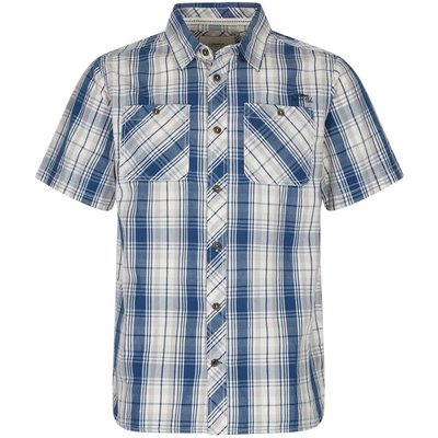 Weird Fish Kale Cotton Short Sleeve Checked Shirt Vintage Blue