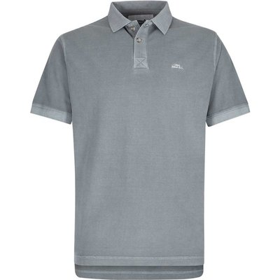 Weird Fish Edwin Garment Dyed Polo Shirt Grey Blue