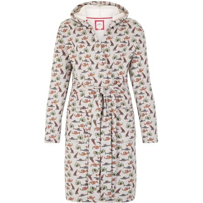 Weird Fish Fishmas Gown Sherpa Lined Printed Dressing Gown Grey Marl Size S