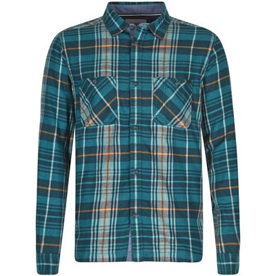Weird Fish Speakeasy Brushed Cotton Long Sleeve Check Shirt Deep Sea Blue