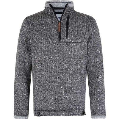 Weird Fish State 1/4 Zip Soft Knit Fleece Sweatshirt Black