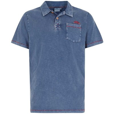 Weird Fish Morrison Garment Dyed Polo Shirt Estate Blue