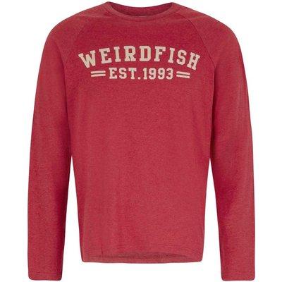 Weird Fish Afflek Long Sleeve Graphic Print T-Shirt Barberry Red Marl