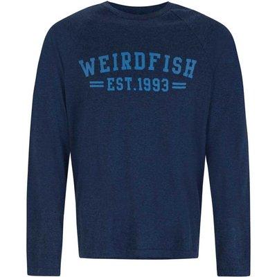 Weird Fish Afflek Long Sleeve Graphic Print T-Shirt Moonlight Blue Marl