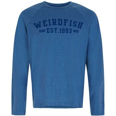 Weird Fish Afflek Long Sleeve Graphic Print T-Shirt Washed Blue Marl