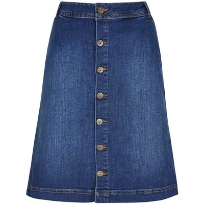 Weird Fish Vixey Denim Skirt Dark Blue