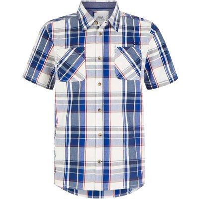 Weird Fish Rewind Cotton Short Sleeve Check Shirt Cobalt Blue