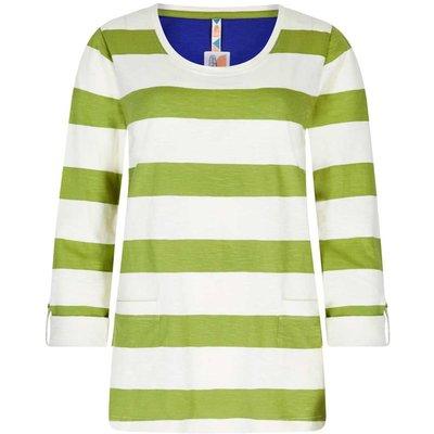 Weird Fish Ajay Cotton Slub Stripe Long Sleeve T-Shirt Lime