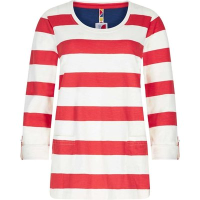 Weird Fish Ajay Cotton Slub Stripe Long Sleeve T-Shirt Tango Red
