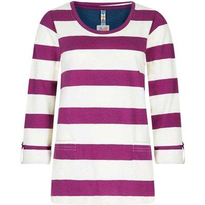 Weird Fish Ajay Cotton Slub Stripe Long Sleeve T-Shirt Boysenberry