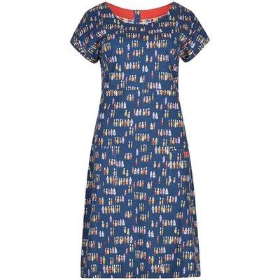 Weird Fish Tallahassee Printed Cotton Jersey Dress Navy