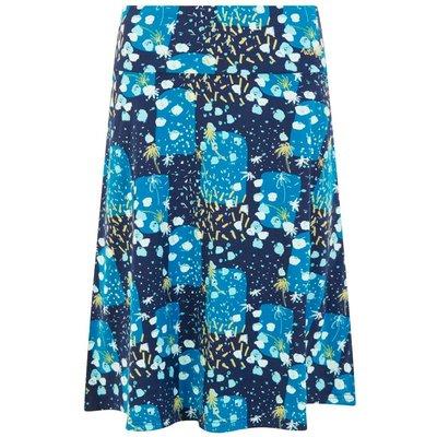 Weird Fish Malmo Printed Jersey Skirt Blue Sapphire