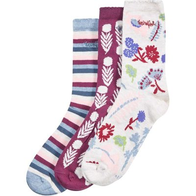 Weird Fish Parade Patterned Sock 3 Pack Light Cream