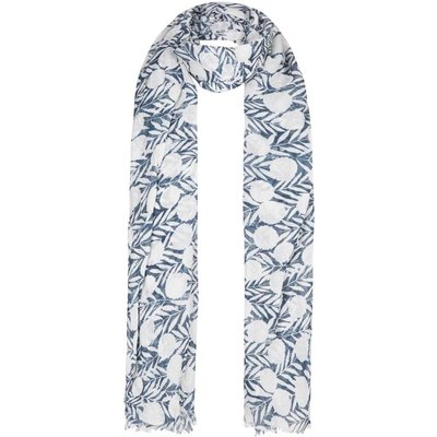 Weird Fish Alverton Printed Polyester Scarf Dark Denim