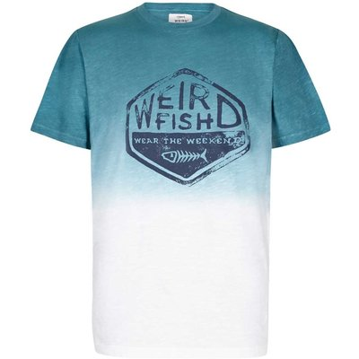 Weird Fish Onslow Graphic Print Dip Dyed T-Shirt Menthol