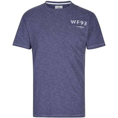 Weird Fish Yorke Garment Dyed Striped T-Shirt Maritime Blue