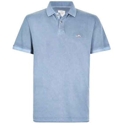 Weird Fish Edwin Garment Dyed Polo Shirt Pale Denim