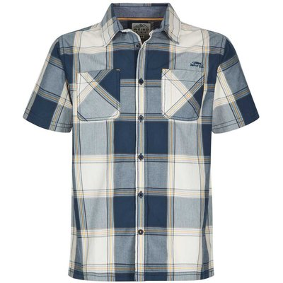 Weird Fish Trevelyan Micro Sanded Short Sleeve Check Shirt Maritime Blue
