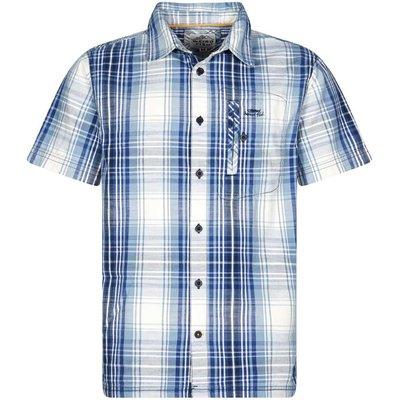Weird Fish Darros Slub Short Sleeve Check Shirt Maritime Blue