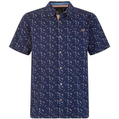 Weird Fish Wade Micro Print Herringbone Short Sleeve Shirt Maritime Blue