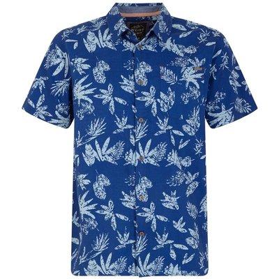Weird Fish Mullins Hawaiian Short Sleeve Shirt Deep Ocean