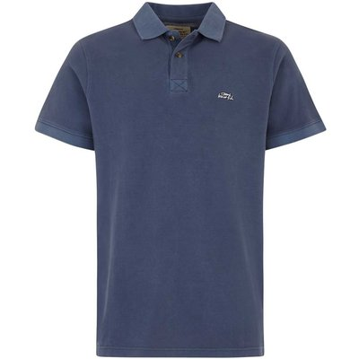 Weird Fish Edwin Garment Dyed Polo Shirt Maritime Blue
