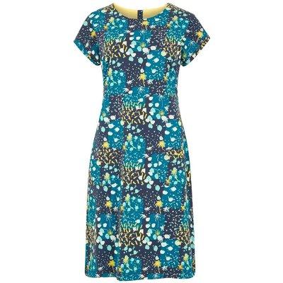 Weird Fish Tallahassee Printed Cotton Jersey Dress Blue Sapphire