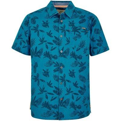Weird Fish Mullins Hawaiian Short Sleeve Shirt Blue Jay