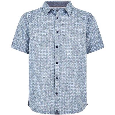 Weird Fish Borgue Linen Mix Printed Short Sleeve Shirt Denim Blue