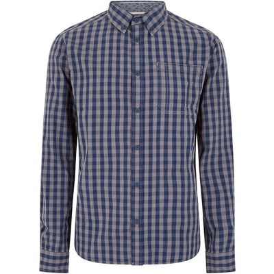 Weird Fish Blakely Long Sleeve Gingham Check Shirt Grey