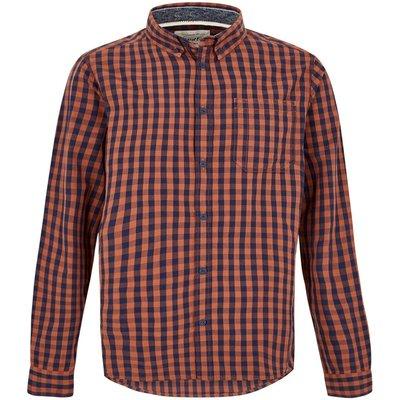 Weird Fish Blakely Long Sleeve Gingham Check Shirt Brick Orange