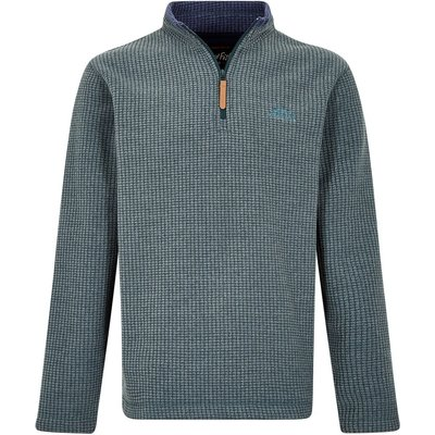 Weird Fish Newark 1/4 Zip Grid Fleece Sweatshirt Evergreen