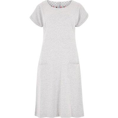 Weird Fish Talia Plain Jersey Dress Grey Marl