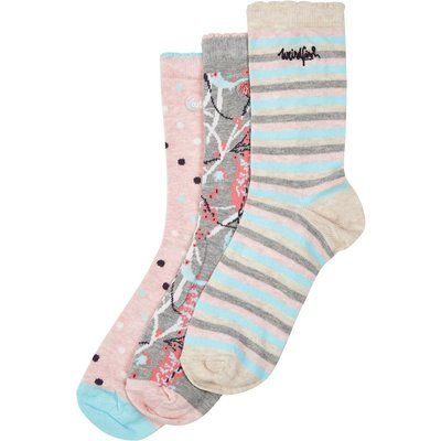 Weird Fish Parade Patterned Sock 3-Pack Frost Grey Marl