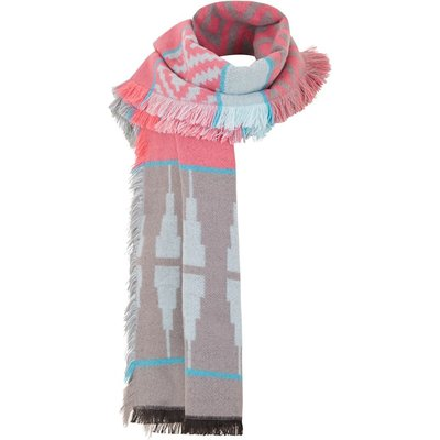 Weird Fish Denka Brushed Jacquard Scarf Frost Grey