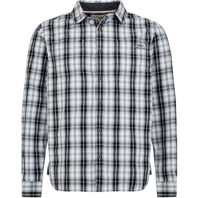 Weird Fish Lamarr Check Long Sleeve Shirt Washed Black