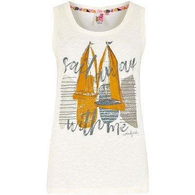 Weird Fish Sailing Graphic Vest Light Cream Size 8