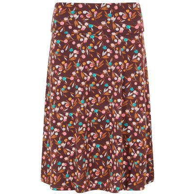 Weird Fish Malmo Printed Jersey Skirt Mulled Wine