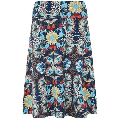 Weird Fish Malmo Printed Jersey Skirt Scandi Blue