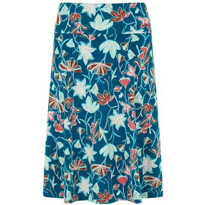 Weird Fish Malmo Printed Jersey Skirt Deep Sea Blue