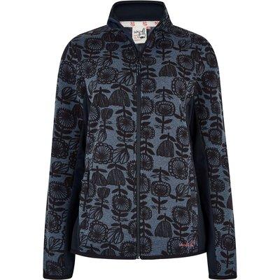Weird Fish Filippa Printed Fleece Soft Knit Jacket Dark Navy