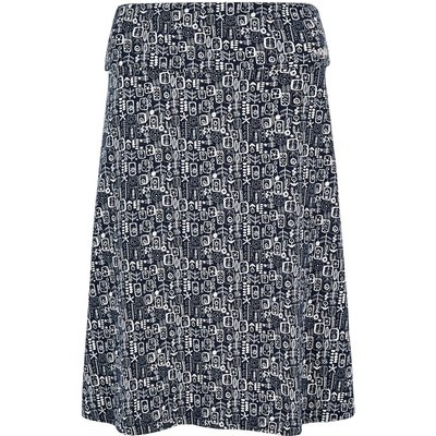 Weird Fish Malmo Printed Jersey Skirt Indigo