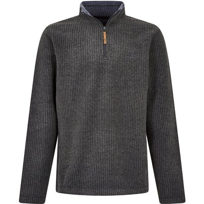 Weird Fish Newark 1/4 Zip Grid Fleece Sweatshirt Charcoal