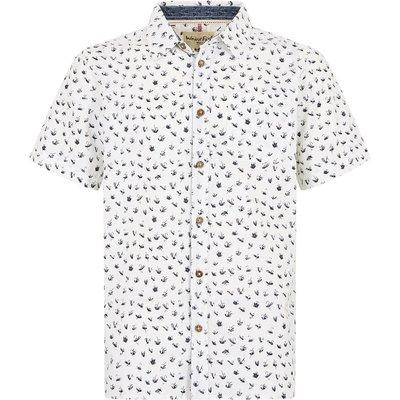 Weird Fish Milbay Print Cotton Short Sleeve Shirt Dusty White