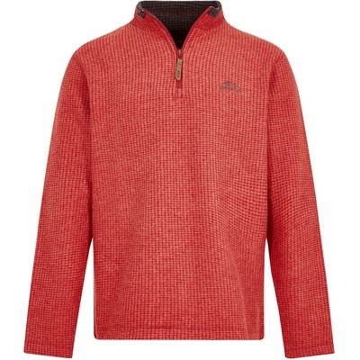 Weird Fish Newark 1/4 Zip Grid Fleece Sweatshirt Dark Red