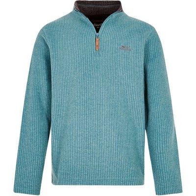 Weird Fish Newark 1/4 Zip Grid Fleece Sweatshirt Harbour Blue