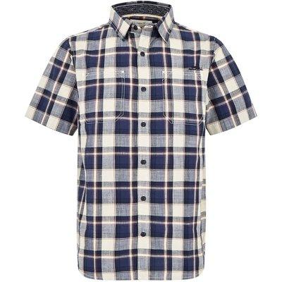 Weird Fish Clane Slub Check Short Sleeve Shirt Blue Indigo